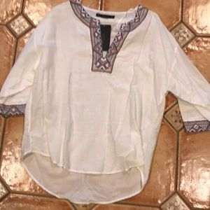NWT Zara white embroidered tunic in a size XL